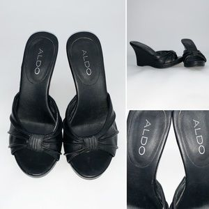 Aldo Black Women's Peep Toe Wedges - Size 7